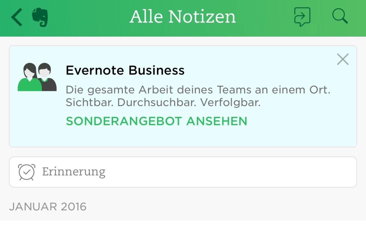 Evernote iPhone Screen
